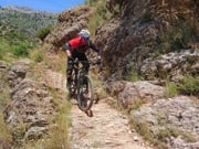 riding mtb on technical rocky section